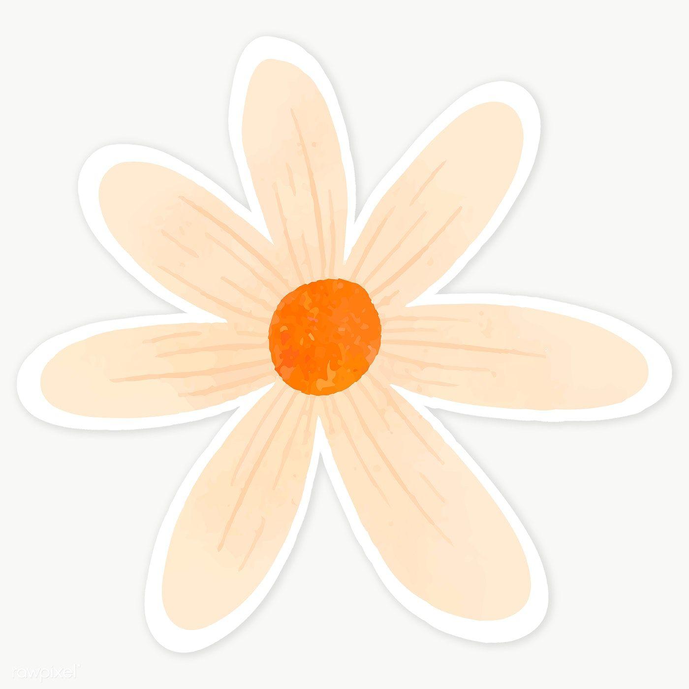Download premium png of Pale orange flower sticker transparent png 2030688