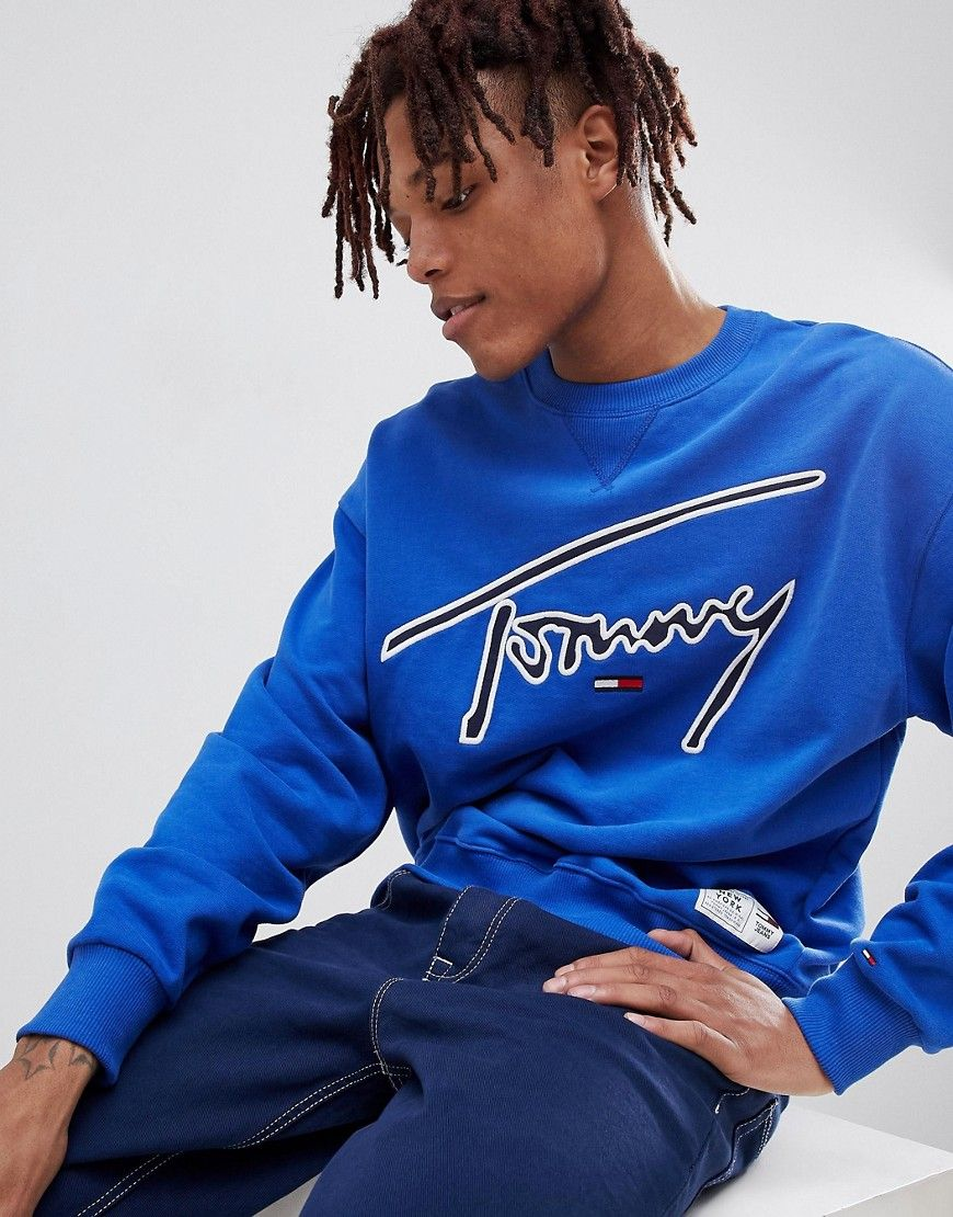 d36c2a0e273199 TOMMY JEANS SIGNATURE CAPSULE LOGO FRONT SWEATSHIRT RELAXED FIT IN BLUE -  BLUE.  tommyjeans  cloth