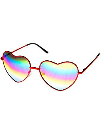 4afe55dbba0 zeroUV - Womens Metal Frame Flash Mirror Rainbow Lens Heart Shape Sunglasses  (Red) ❤ frame optic
