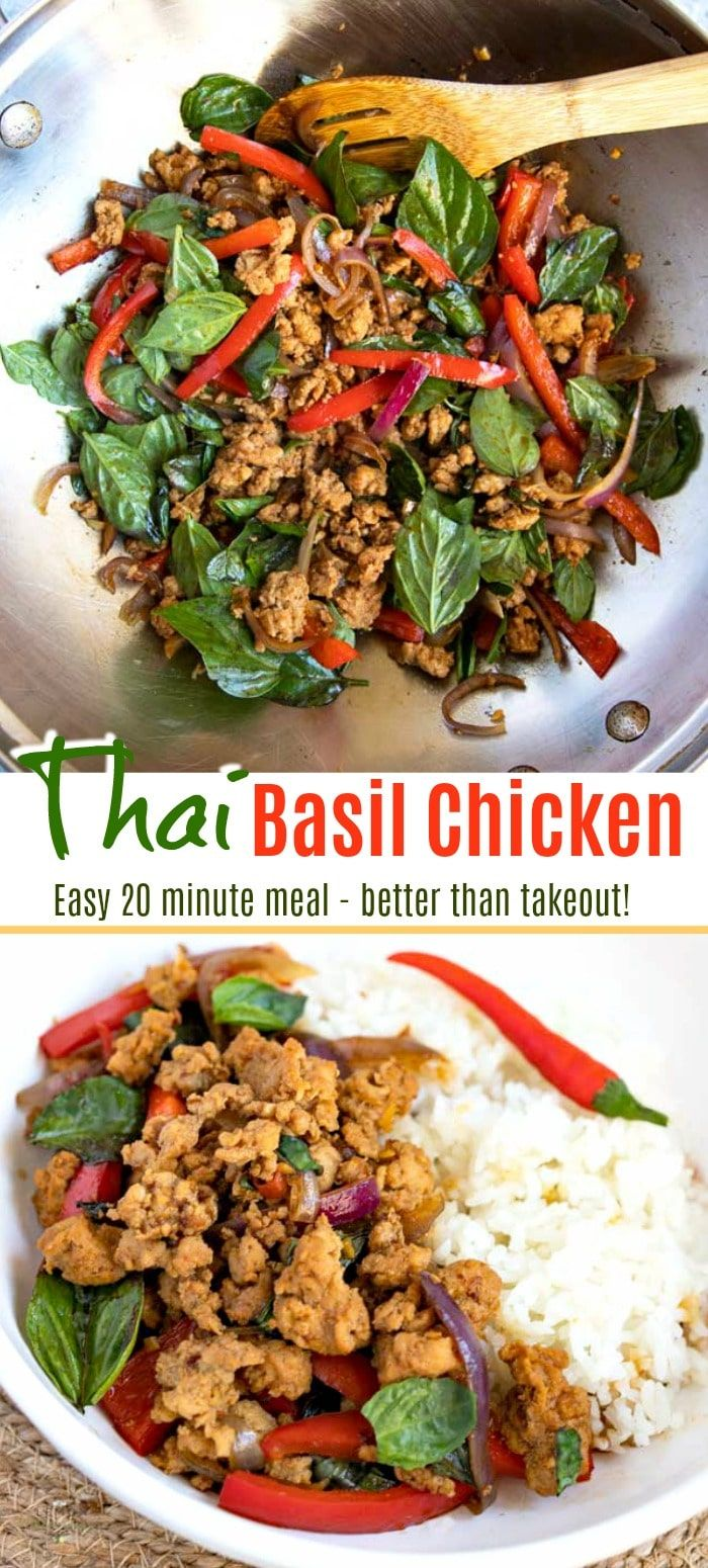 This quick and easy Thai Basil Chicken recipe is budget friendly, light and full of flavor! Ground chicken, veggies and basil are stir fried in the tastiest thick savory sauce!