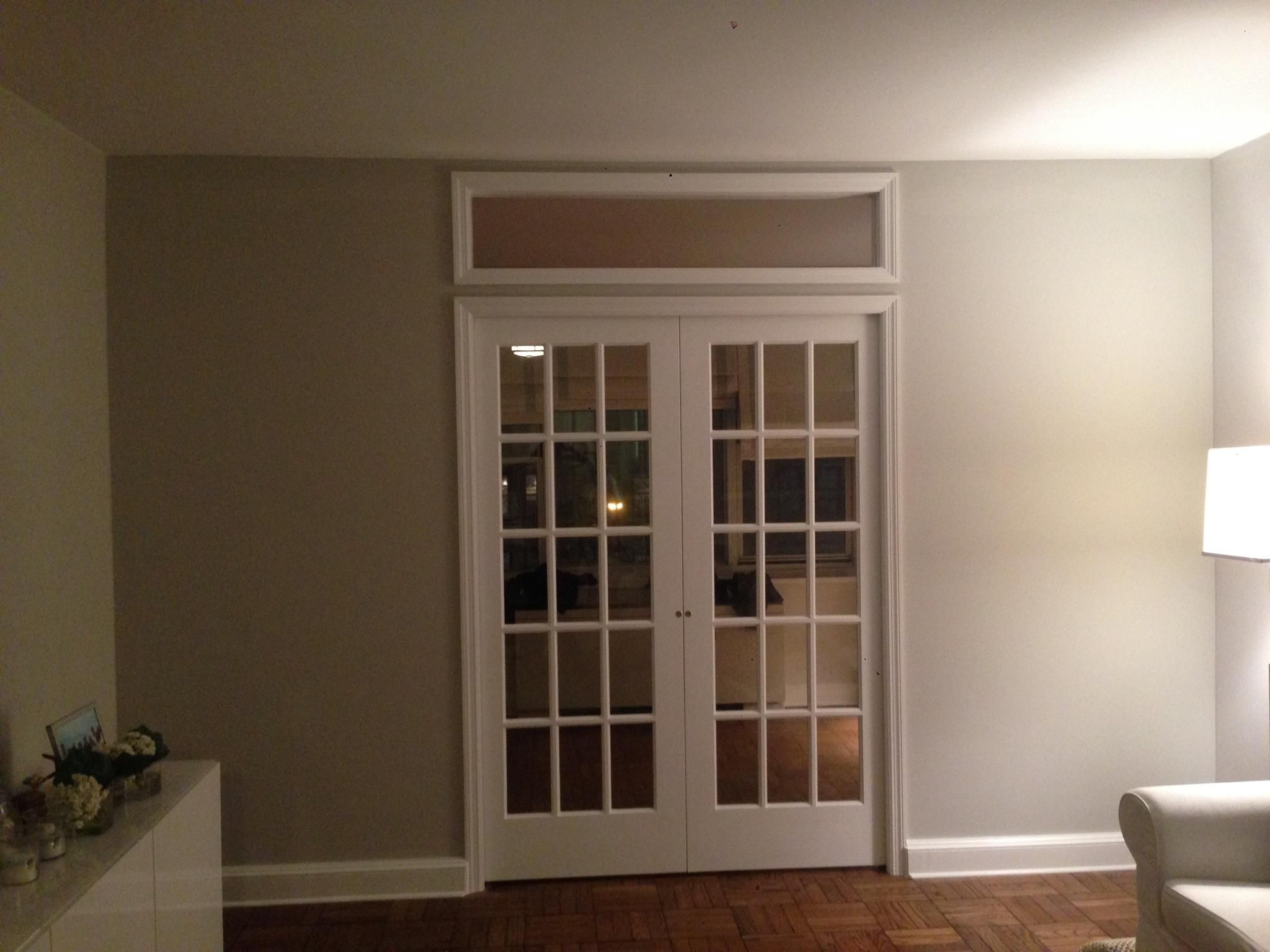 Custom temporary wall system with double French doors and borrowed light window we recently installed in NYC apartment. For more information and free ... & Custom temporary wall system with double French doors and borrowed ...