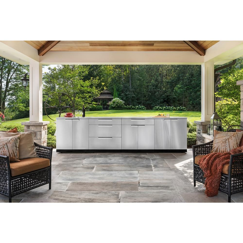 Newage Products Stainless Steel 5 Piece 145 25 In W X 36 5 In H X 24 In D Outdoor Kitchen Cabinet Set Without Counter Tops 65085 The Home Depot Modular Outdoor Kitchens Outdoor