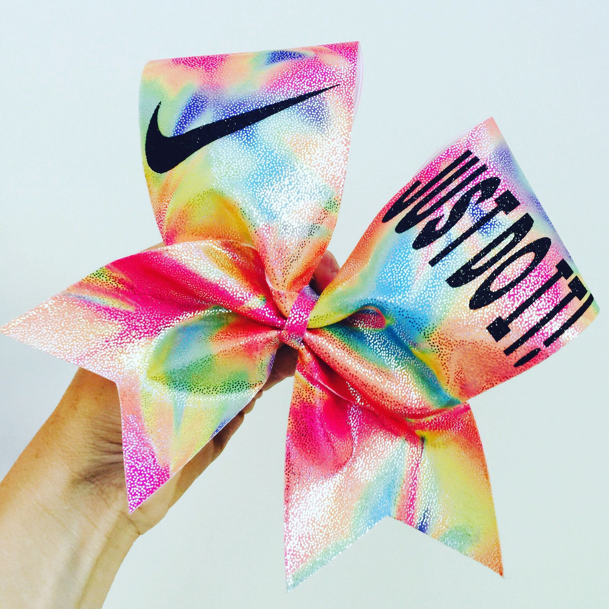 Just Do It Rainbow Metallic Holographic Sherbert Spandex Cheer Bow Tie Dye Look
