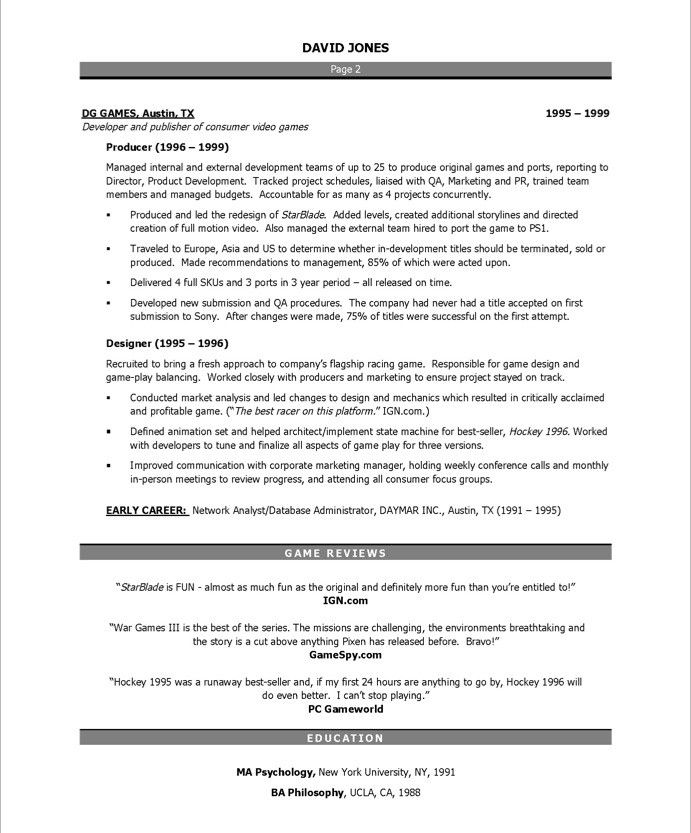 Game Audio Engineer Sample Resume Video Game Producerpage2  Entertainment Resumes  Pinterest