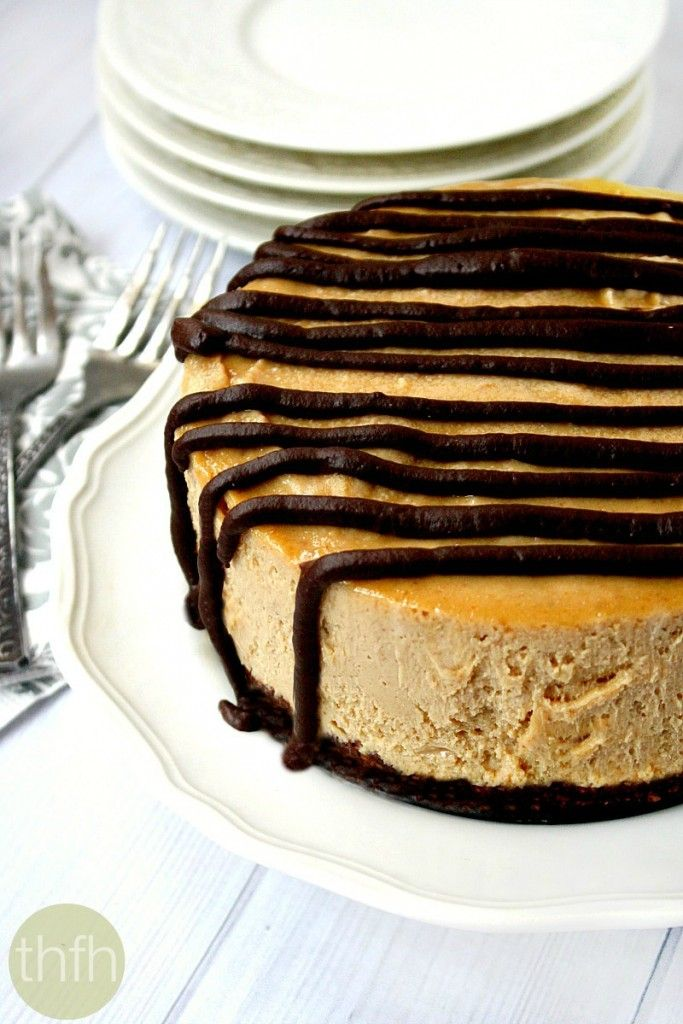 "Vegan No-Bake Peanut Butter Cheesecake...made with clean, healthy ingredients and it's ""almost raw"", vegan, gluten-free, dairy-free, no-bake and has no refined sugars"