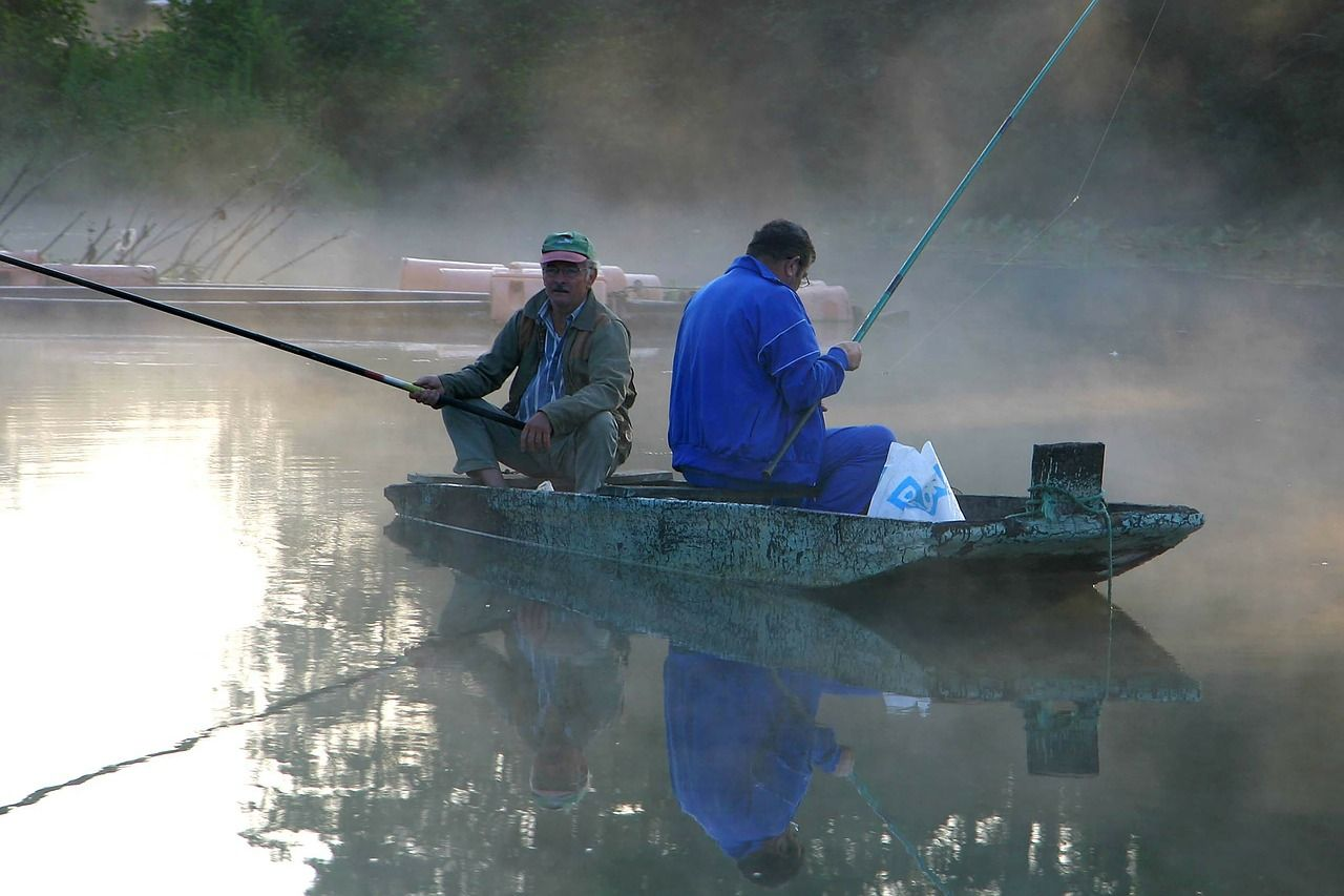 Fishing in the early morning mist, Tanquil and peaceful moments and conversayion.