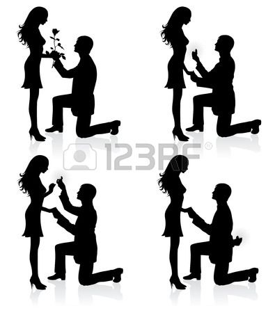 Silhouettes Of A Man Proposing To A Woman While Standing On One Man Proposing Couple Silhouette Silhouette Man