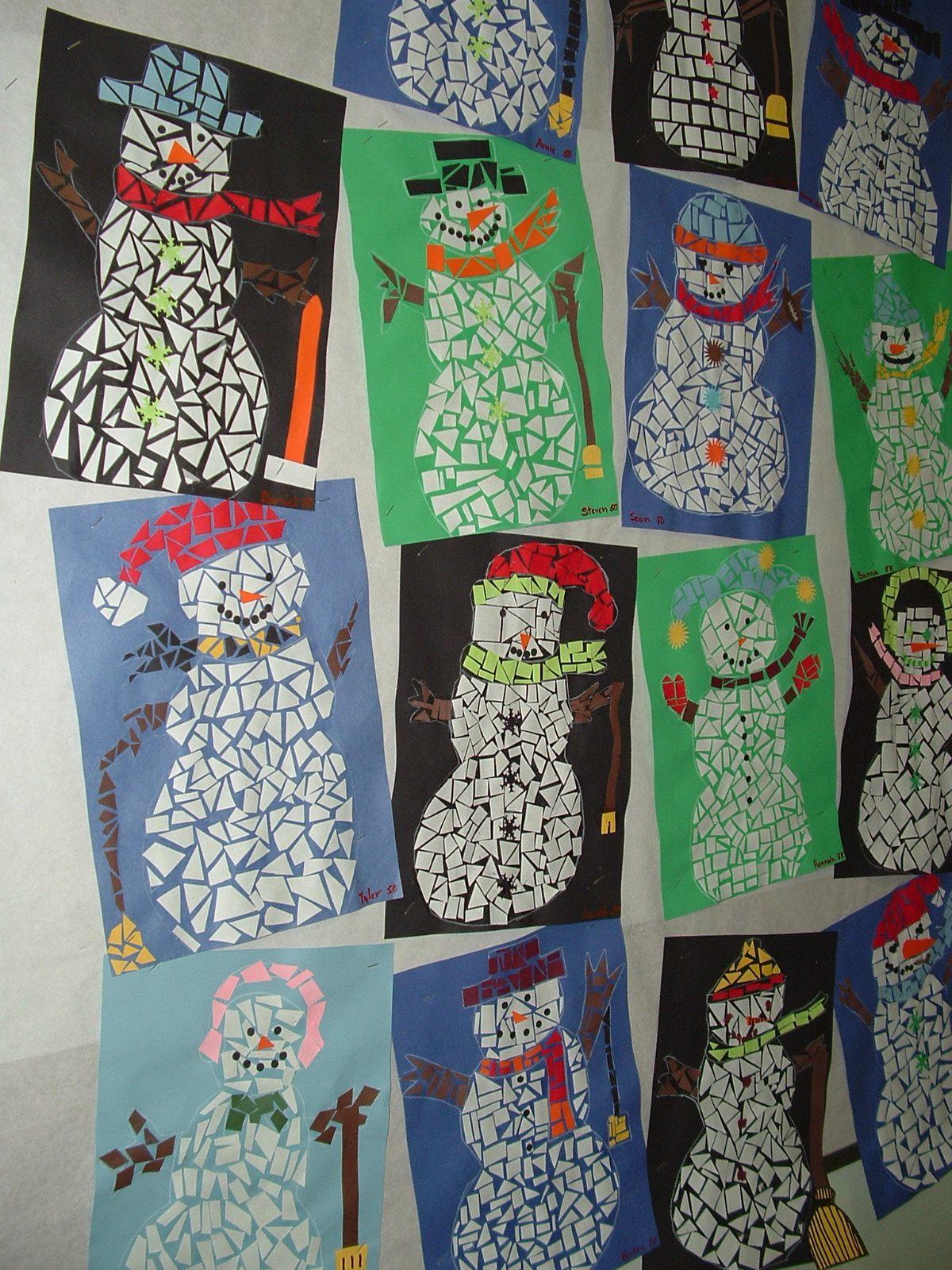 Kids art projects snowman pixels mosaic kids winter art crafts