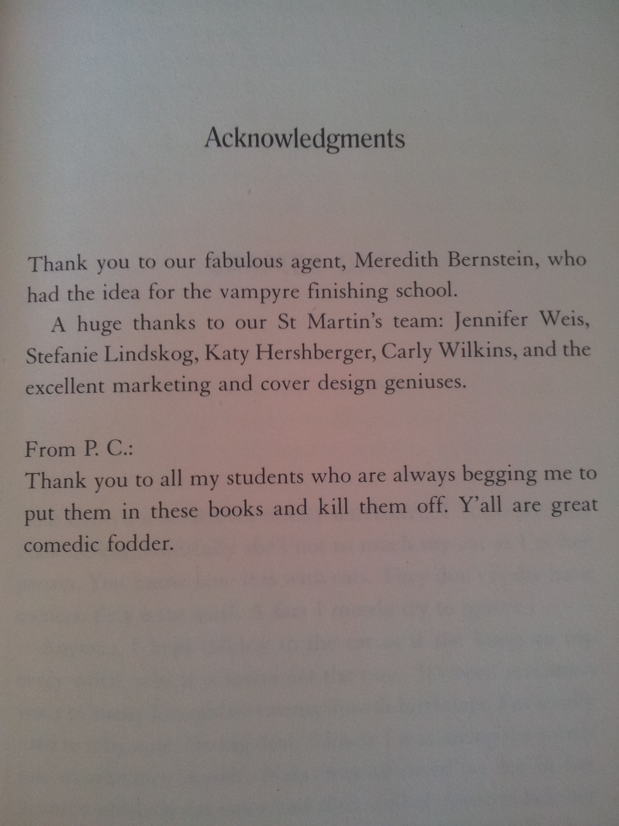 Acknowledgement From Pc Cast And Kristin Cast Chosen  Book 3 In The  House Of