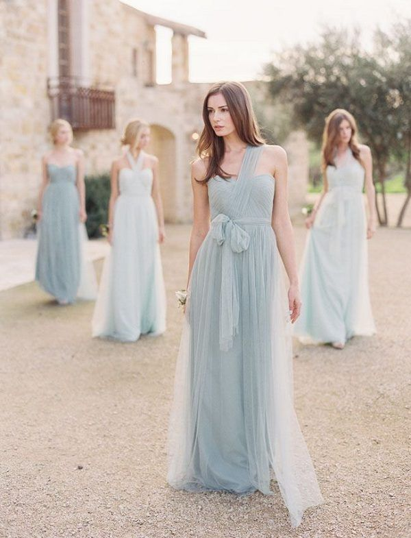 6db76ce8d0a A-line One Shoulder Sleeveless Sashes Ribbons Pleated Long Bridesmaid Dress.  Tulle Bridesmaid Dresses from Jenny Yoo   http   www.deerpearlflowers.com