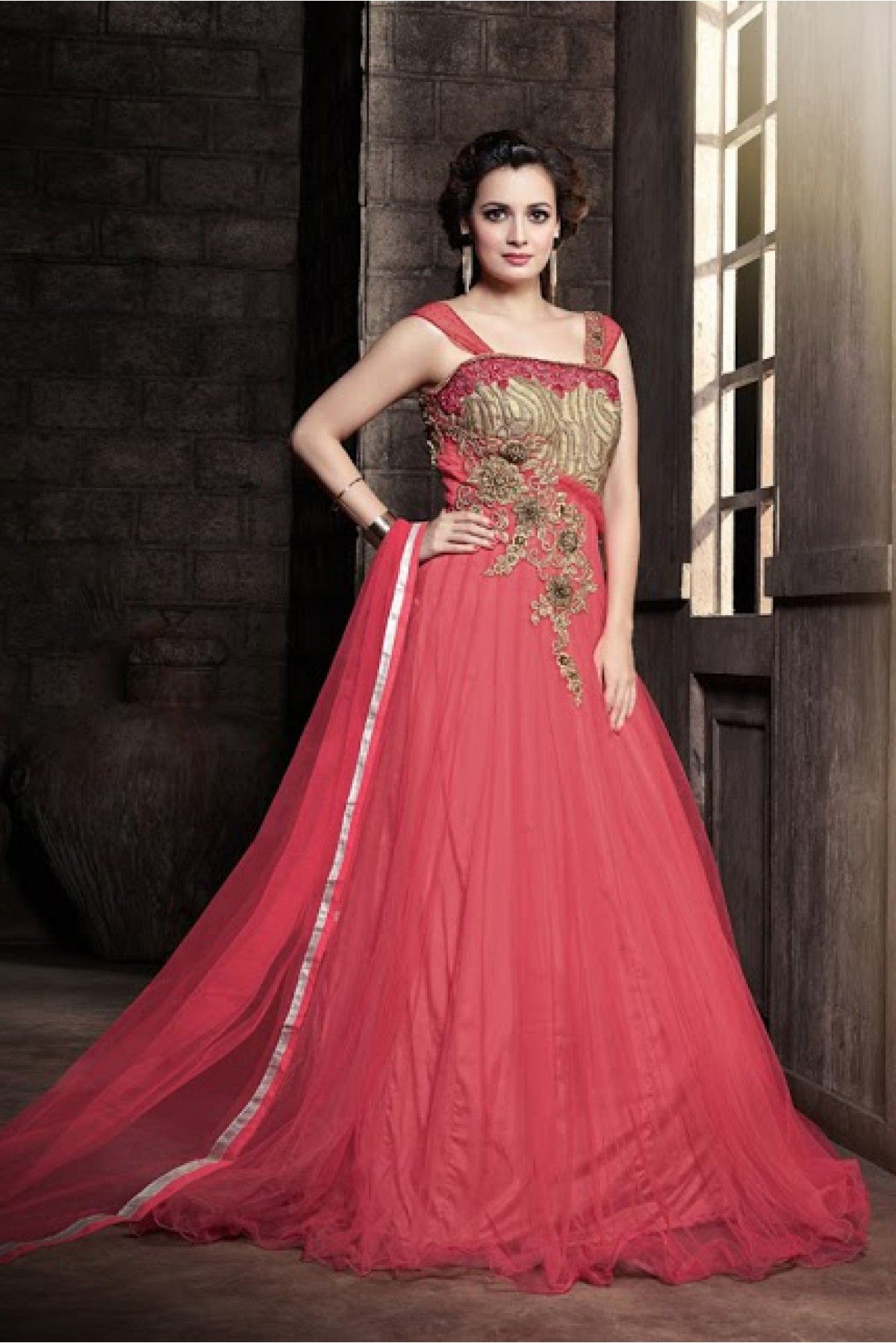 507d6cf08f Pink Colour Net Fabric Designer Semi Stitched Gown Comes With Matching  Dupatta. This Gown Is