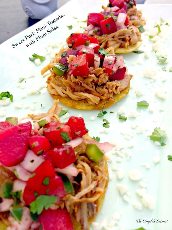 Slow cooked sweet pork on mini tostadas served with plum salsa slow cooked sweet pork on mini tostadas served with plum salsa dinner party post the complete savorist forumfinder Choice Image