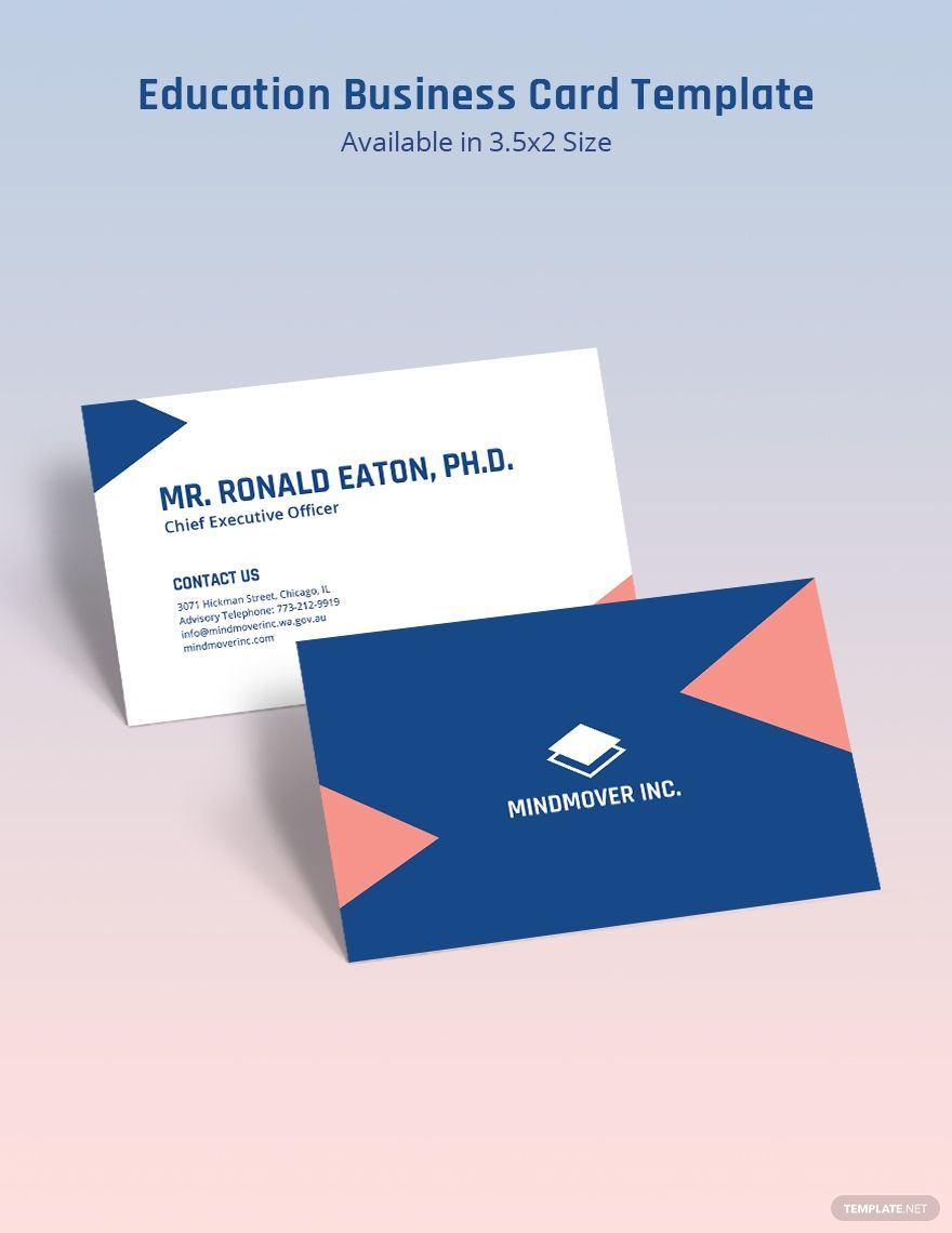 Education Business Card Template Word Psd Indesign Apple Pages Illustrator Publisher Business Card Template Word Business Card Template Card Template