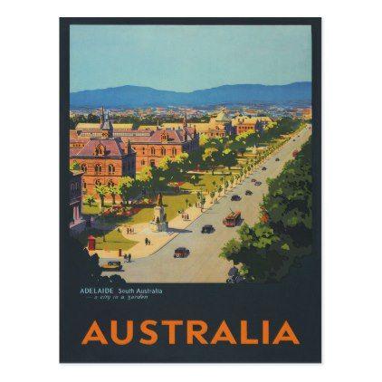 Adelaide Australia Vintage Travel Poster Postcard Retro Gifts Style Cyo Diy Special Idea Vintage Travel Posters Travel Cards Retro Poster