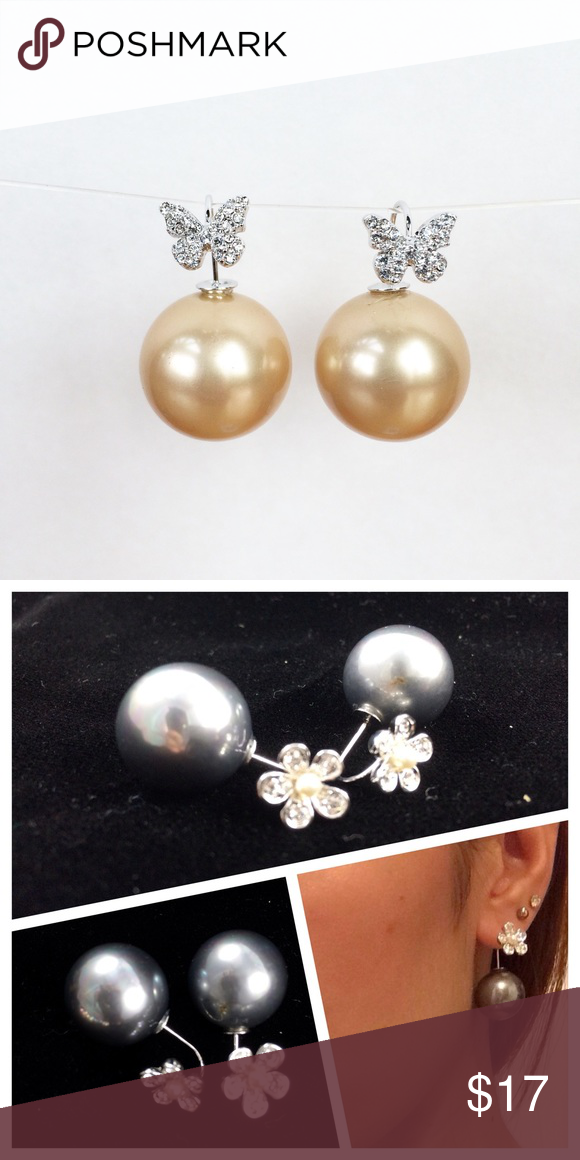 Butterfly pearl earrings Trendy earrings made with imitation pearl and Swarovski element Crystal. The second picture show how to wear. Jewelry Earrings