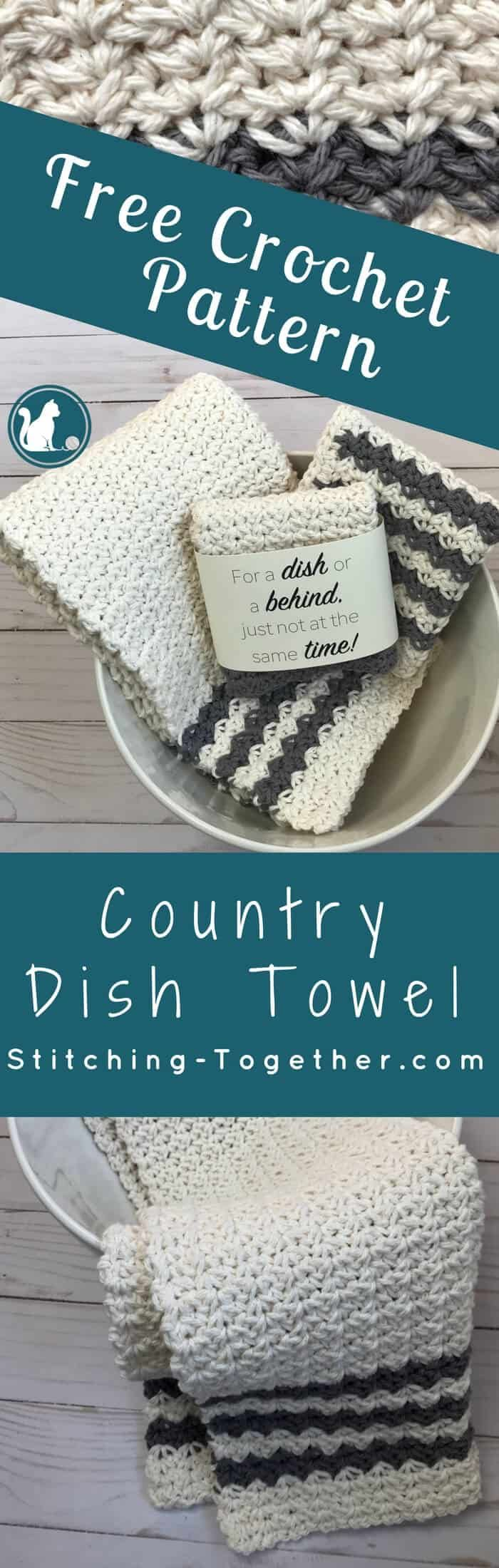 Crochet Country Dish Towel #dishtowels