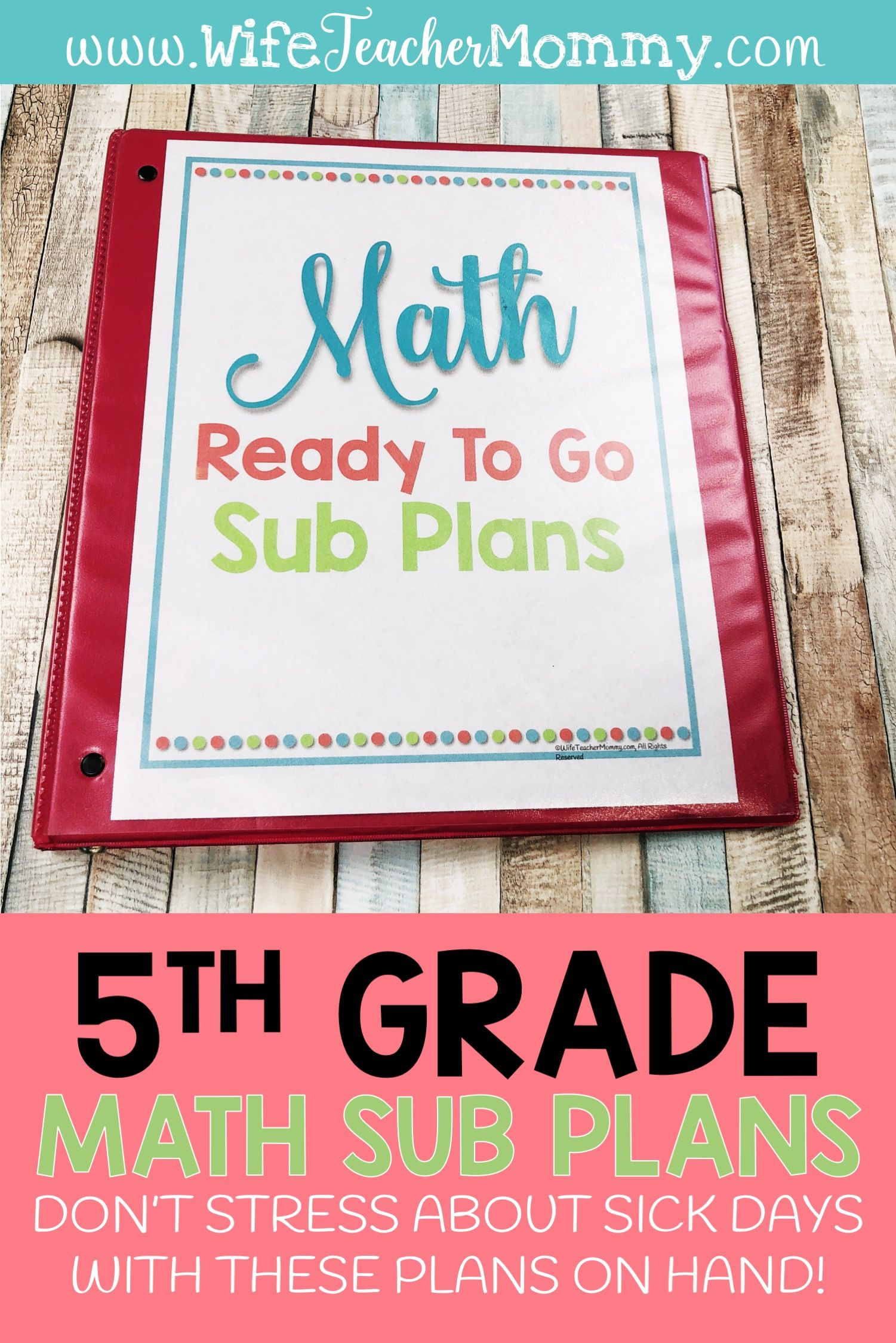 5th Grade Departmentalized Sub Plans Math
