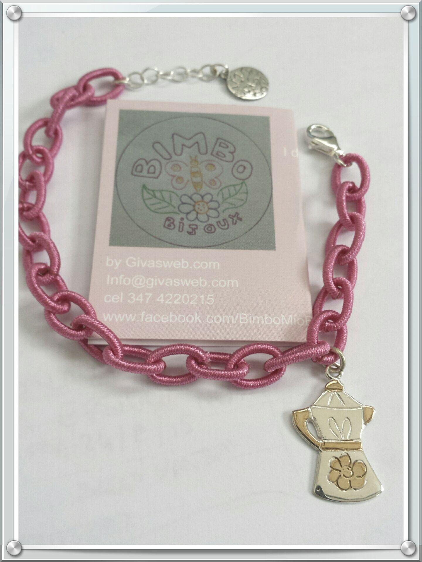 bracciale in seta fuxia con chiusura in argento 925 e ciondolo caffettiera mokka