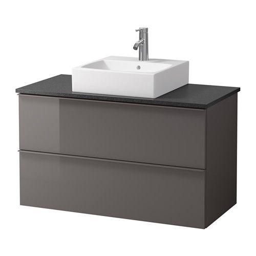 GODMORGON/ALDERN / TÖRNVIKEN Waschbeckenschr+Aufsatzwaschb 45x45 - schwarz Steinmuster, Hochglanz grau - IKEA