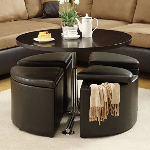 Amazon Com Home Creek Hydraulic Lift Cocktail Table With Storage Ottomans Table Chair Set Dining Table With Storage Coffee Table With Stools Coffee Table