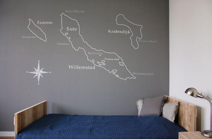 Wanddecoratie landkaart muurschildering van bonaire for Muurtekeningen woonkamer