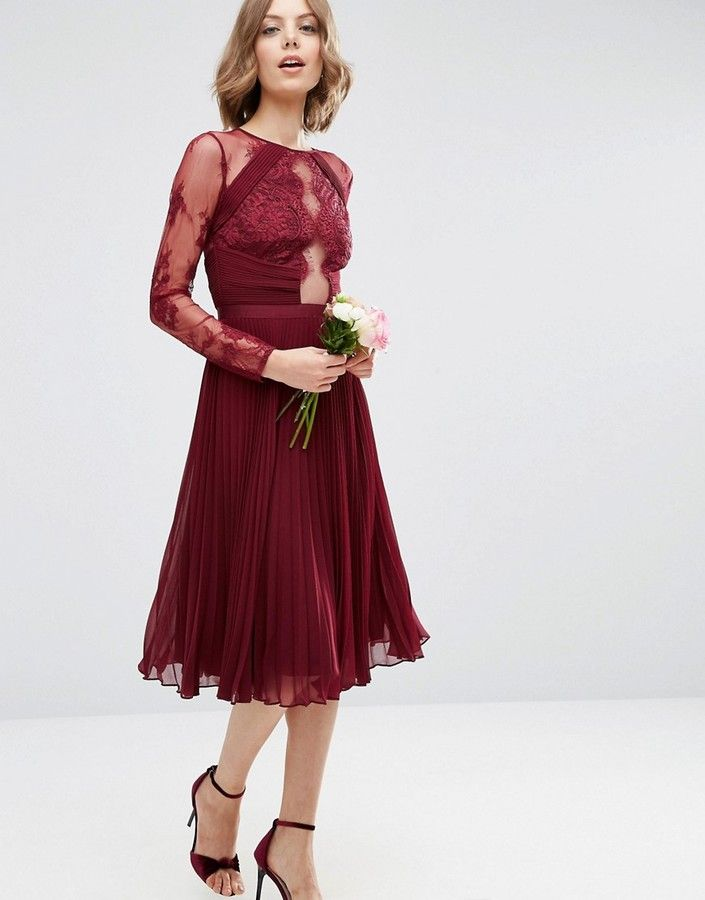 ASOS WEDDING Pretty Lace Eyelash Pleated Midi Dress at Asos  affiliatelink ff0298d07
