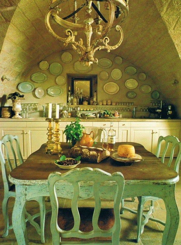 Rustic minty table in an eclectic French Belgian dining room ...