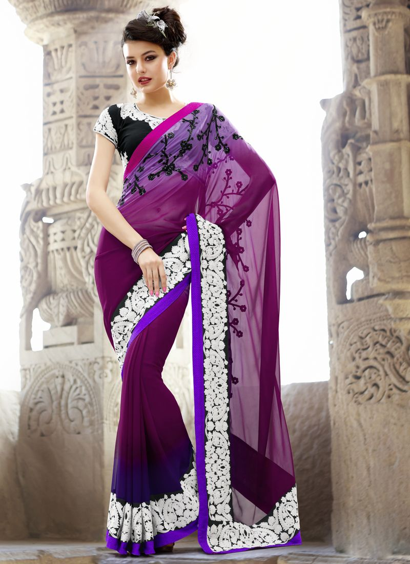Shaded Embroidered #Purple #Georgette #Saree