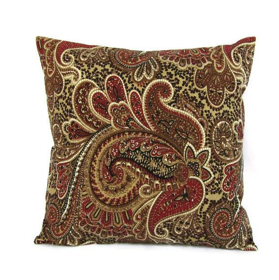 Throw Pillow Cover Brown Taupe Burgundy Paisley Home Decor