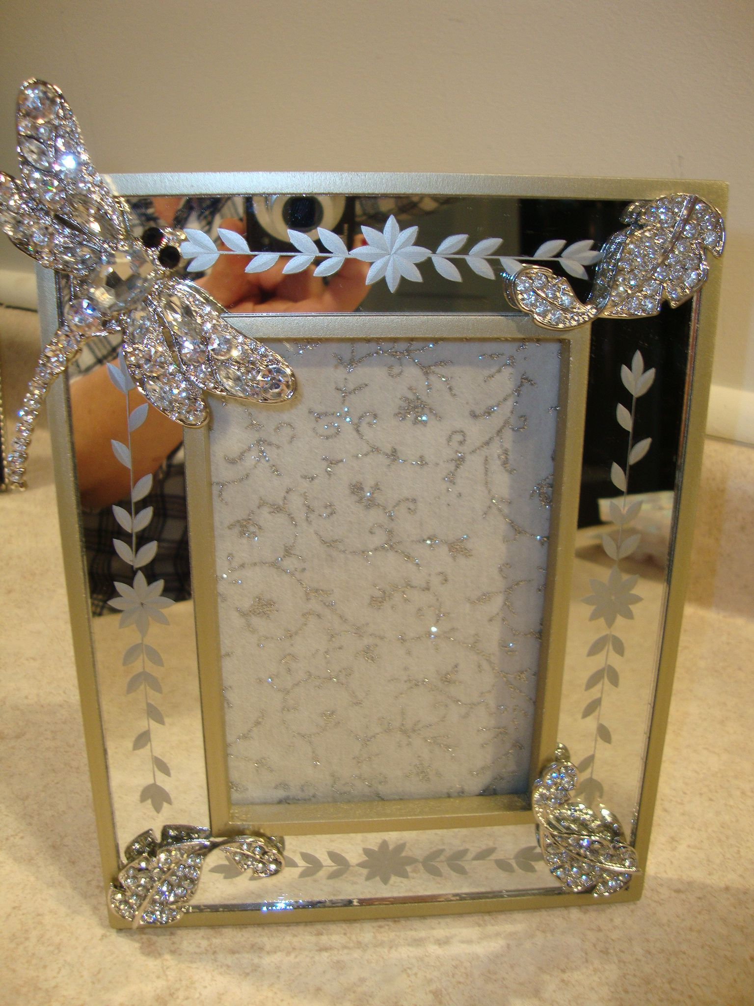 Etched mirror picture frame with crystal dragonfly on etsy home etched mirror picture frame with crystal dragonfly on etsy jeuxipadfo Gallery