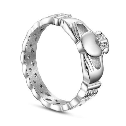 SWEETIEE&reg Distinctive 925 Sterling Silver Braided Band Finger Ring, with Hands hold Heart, PlatinumPSize: about 19mm inner diameter, 9mm wide; pPacking size: 53x53x37mm.
