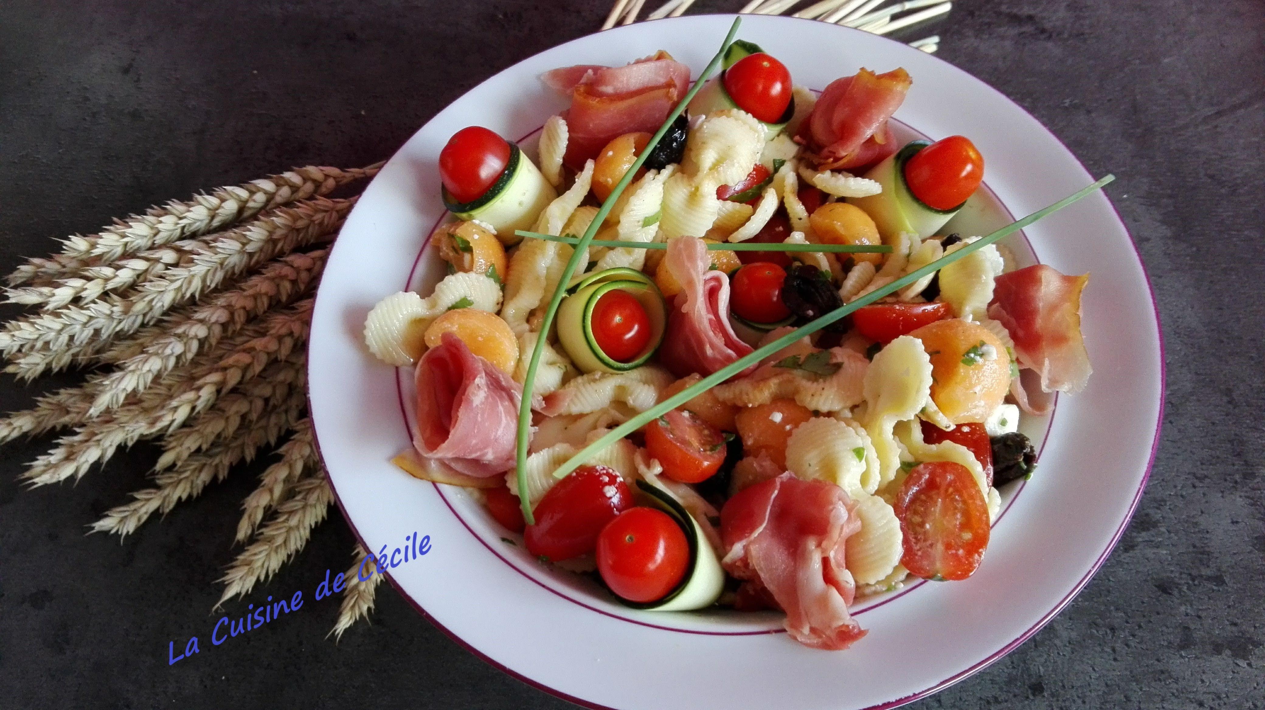 Salade de pâtes estivales au jambon cru et melon - recette ...