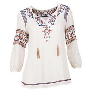 63bb73dbd912c Bob Timberlake Embroidered Peasant Blouse for Ladies - Cream - 2XL ...