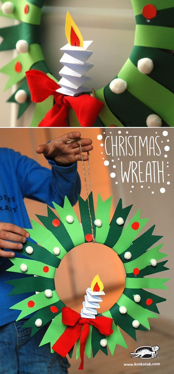 DIY Christmas Wreath - paper craft for kids Christmas Pinterest