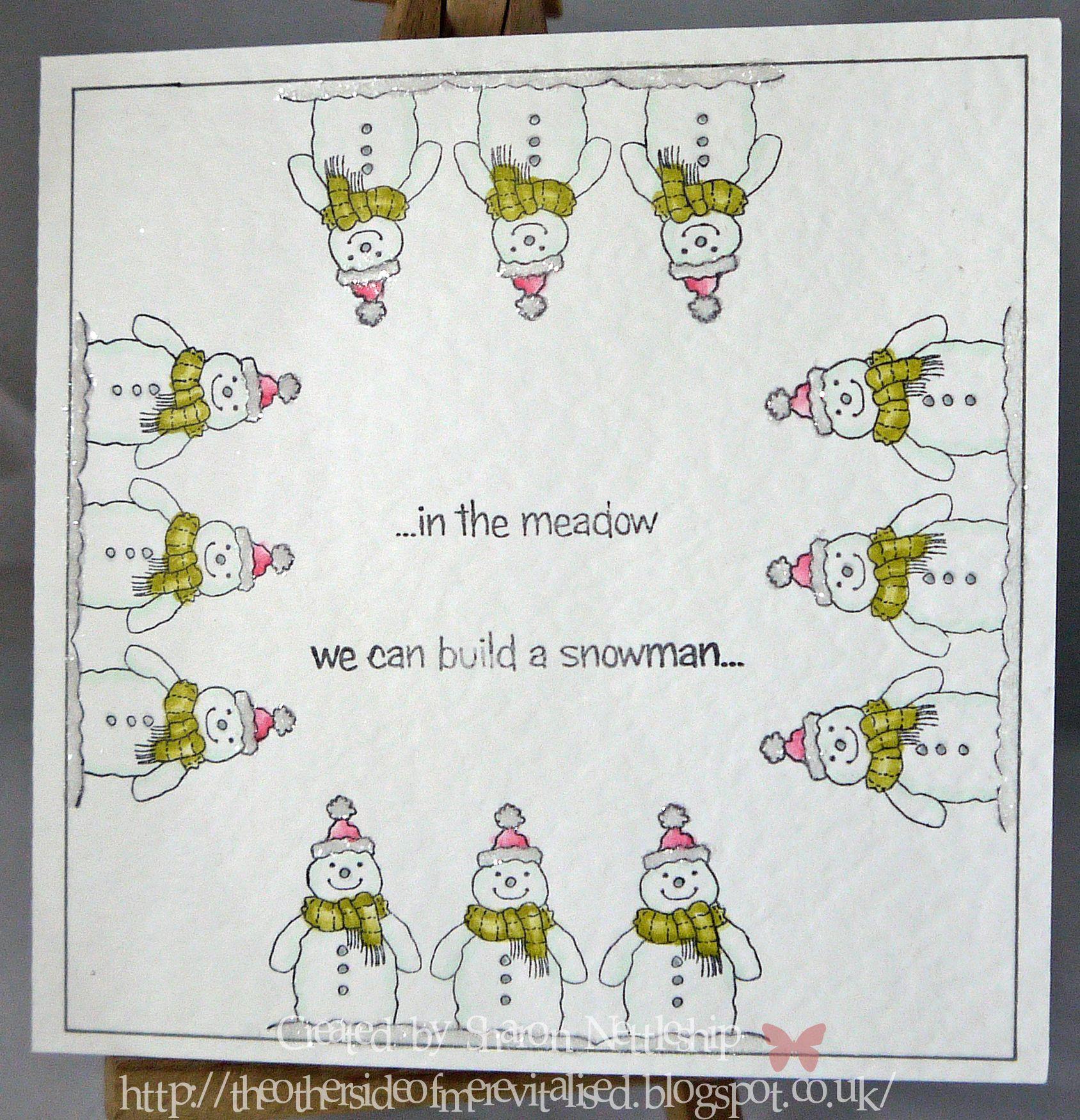 Christmas Snowmen stamp set, chameleon pens and a little glitter.