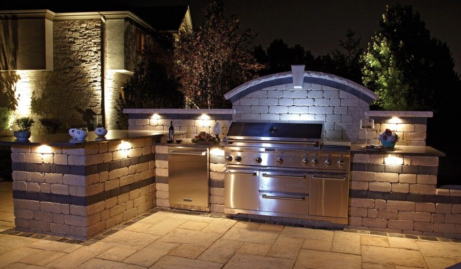 Tremendous Bbq Outdoor Kitchen Islands With Tumbled Travertine Brick Backsplash And Mounted Spotlight For Kitchen Also