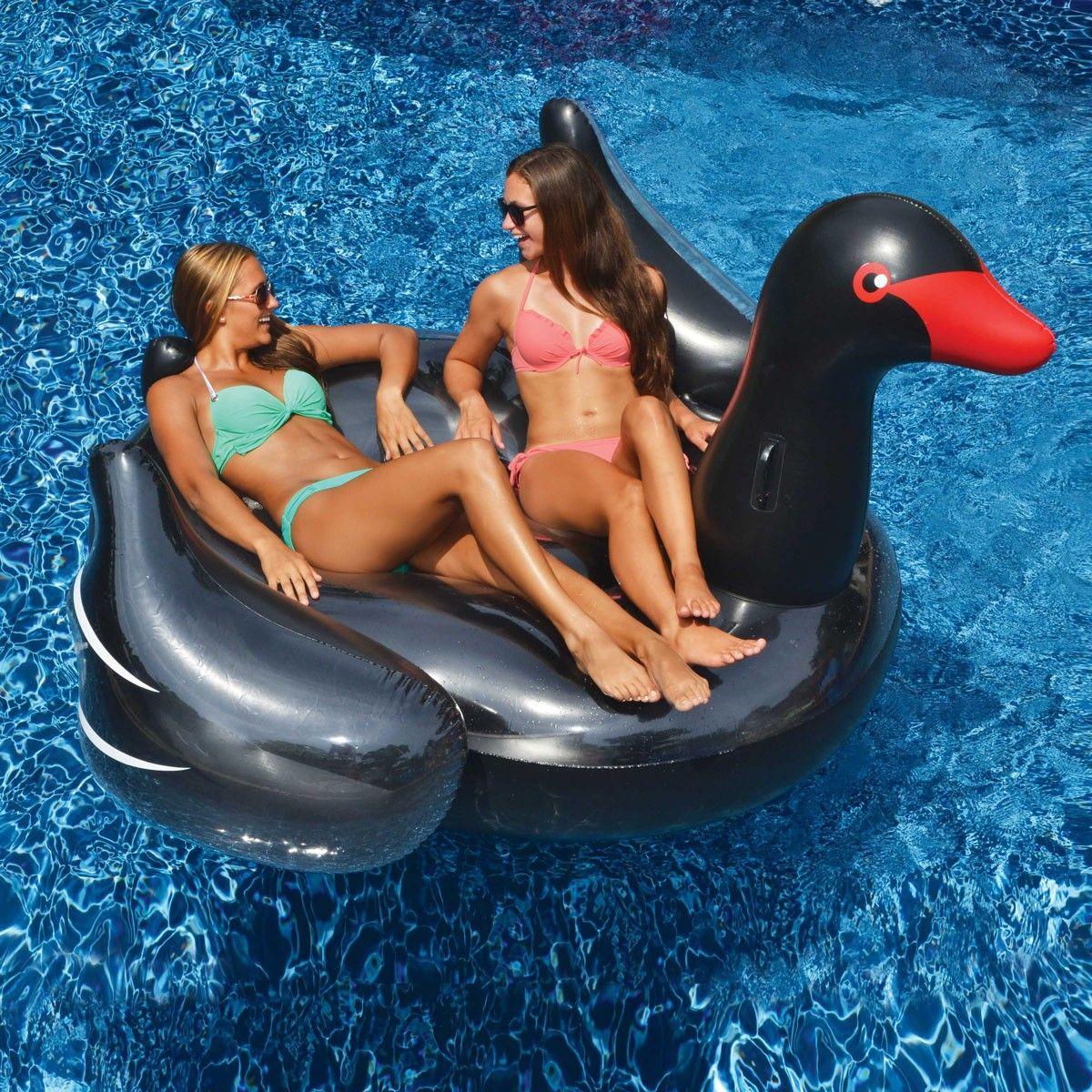 Water Sports Inflatable Giant Black Swan Swimming Pool Ride On Float Toy