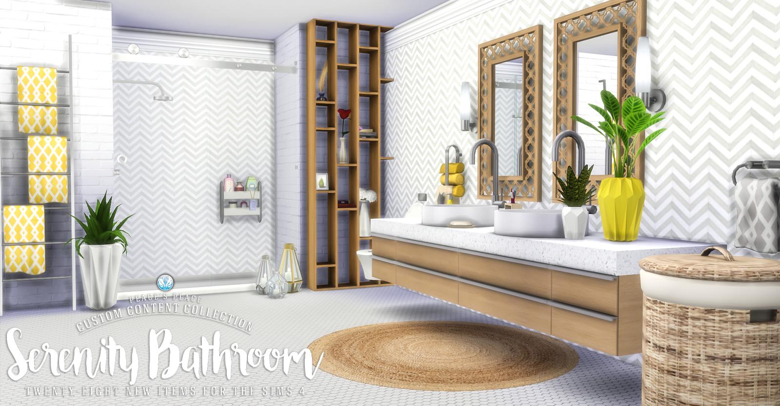 Simsational designs serenity bathroom set sims 4 cc for Bathroom ideas sims 4