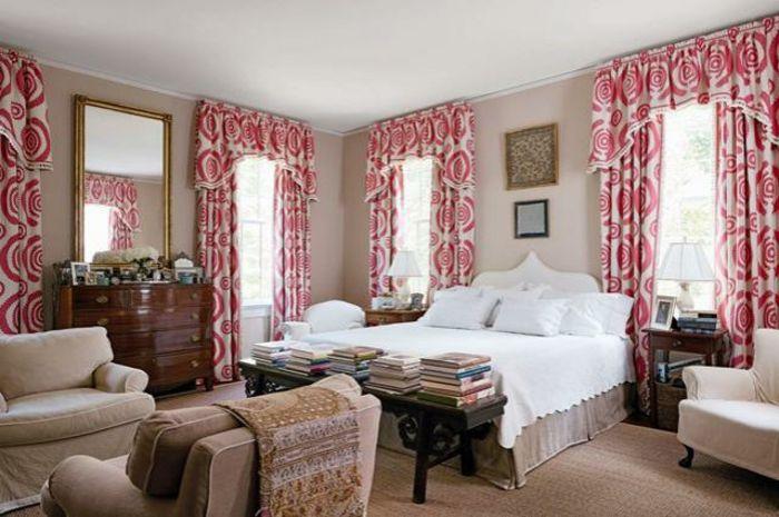 cortinas de salon, propuesta en rojo y blanco para habitaciones de - sillones para habitaciones