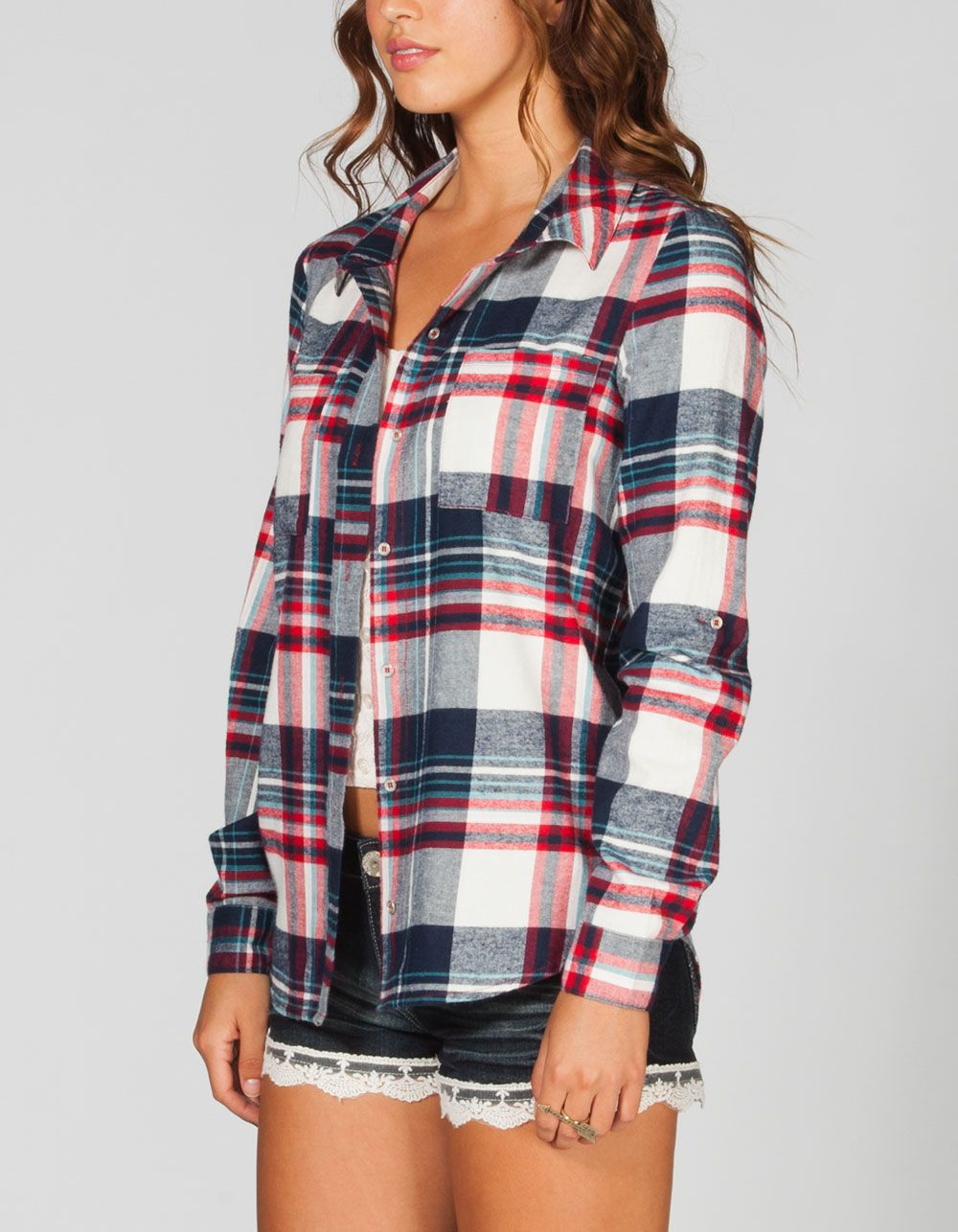 Full Tilt Womens Washed Flannel Shirt. And Shorts Fashion-ista