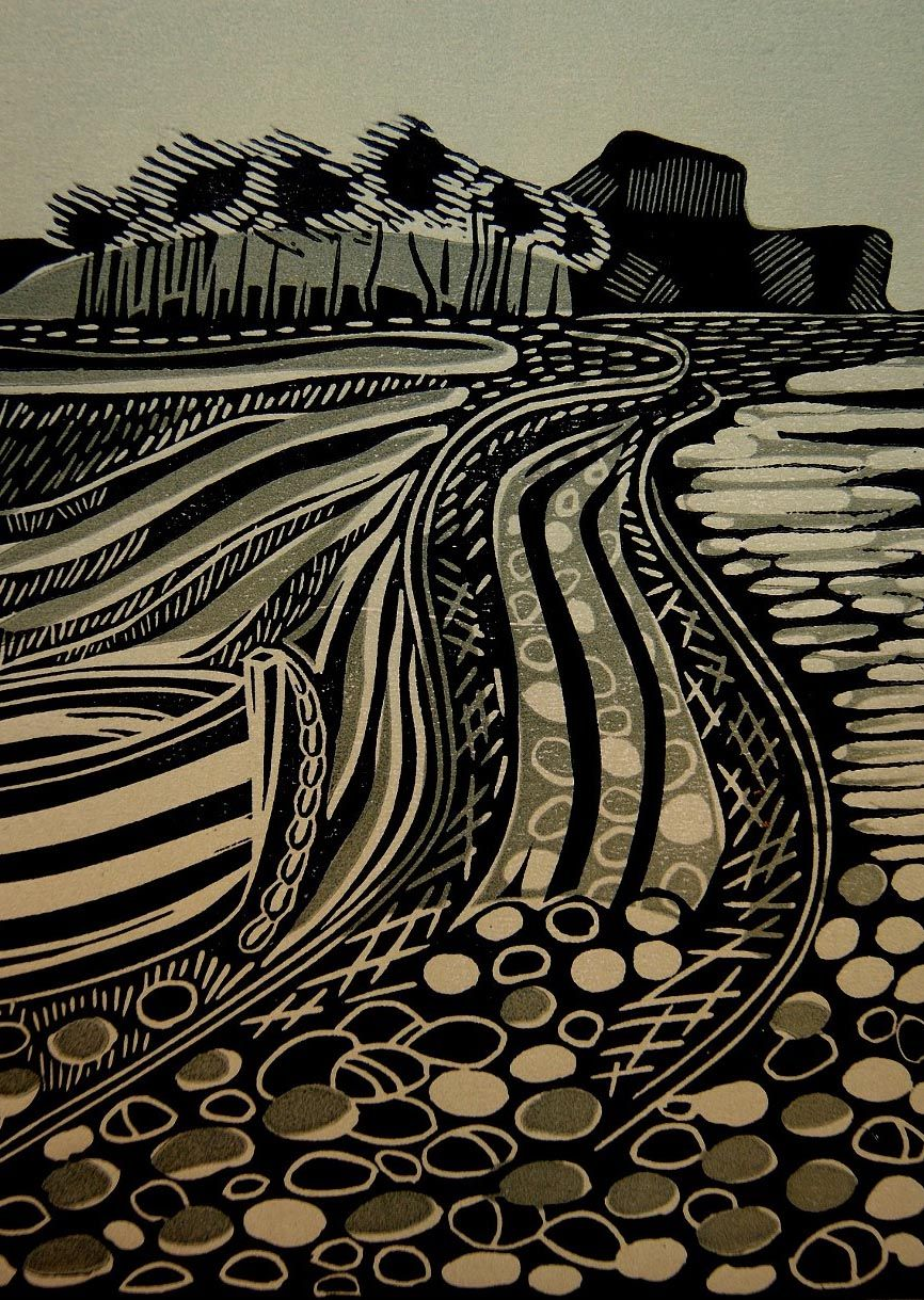 Quot budleigh salterton block linocut by cathy king http