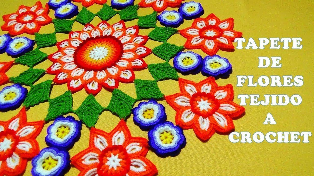 Tapete O Carpeta A Crochet De Flores Con Hojas Paso A Paso En Video