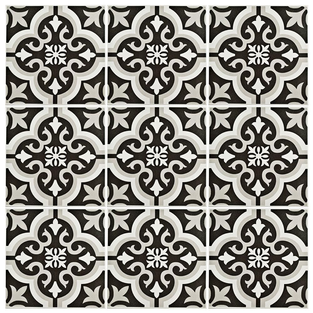 Merola Tile Braga Classic 7-3/4 in. x 7-3/4 in. Ceramic Floor and Wall Tile  (10.76 sq. ft. / case), Black/Grey And White/Low Sheen