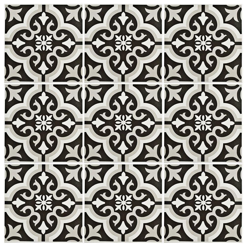 Merola Tile Braga Clic 7 3 4 In X Ceramic Floor And Wall 10 76 Sq Ft Case Black Grey White Low Sheen