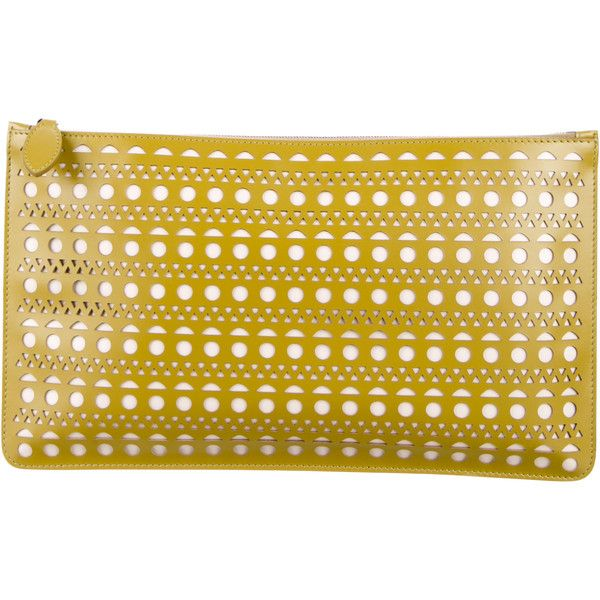 Pre-owned Ala�a Laser Cut Leather Clutch ($825) ❤ liked on Polyvore featuring bags, handbags, clutches, green, leather purses, leather handbags, yellow clutches, yellow leather purse and green leather purse