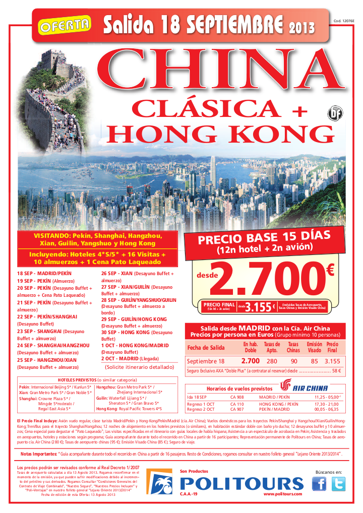 CHINA Clásica + Hong Kong, sal. 18/09 desde Madrid (15d/12n) p.f. desde 3.155€ - http://zocotours.com/china-clasica-hong-kong-sal-1809-desde-madrid-15d12n-p-f-desde-3-155e/