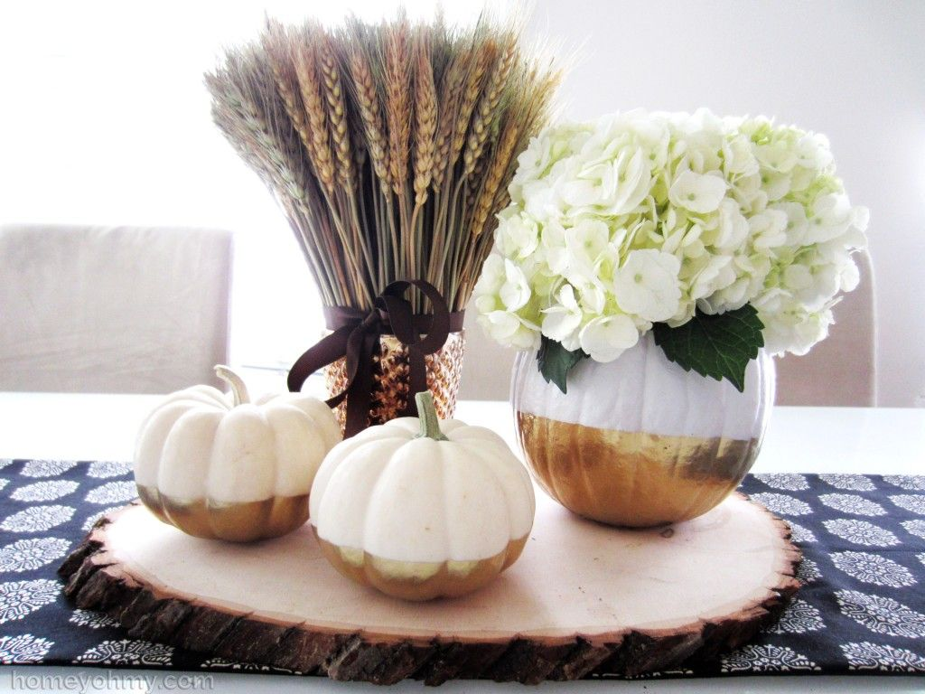 Gold Dipped Pumpkins Centerpiece Using Gold Spray Paint. Easy And Elegant  Way To Decorate Your
