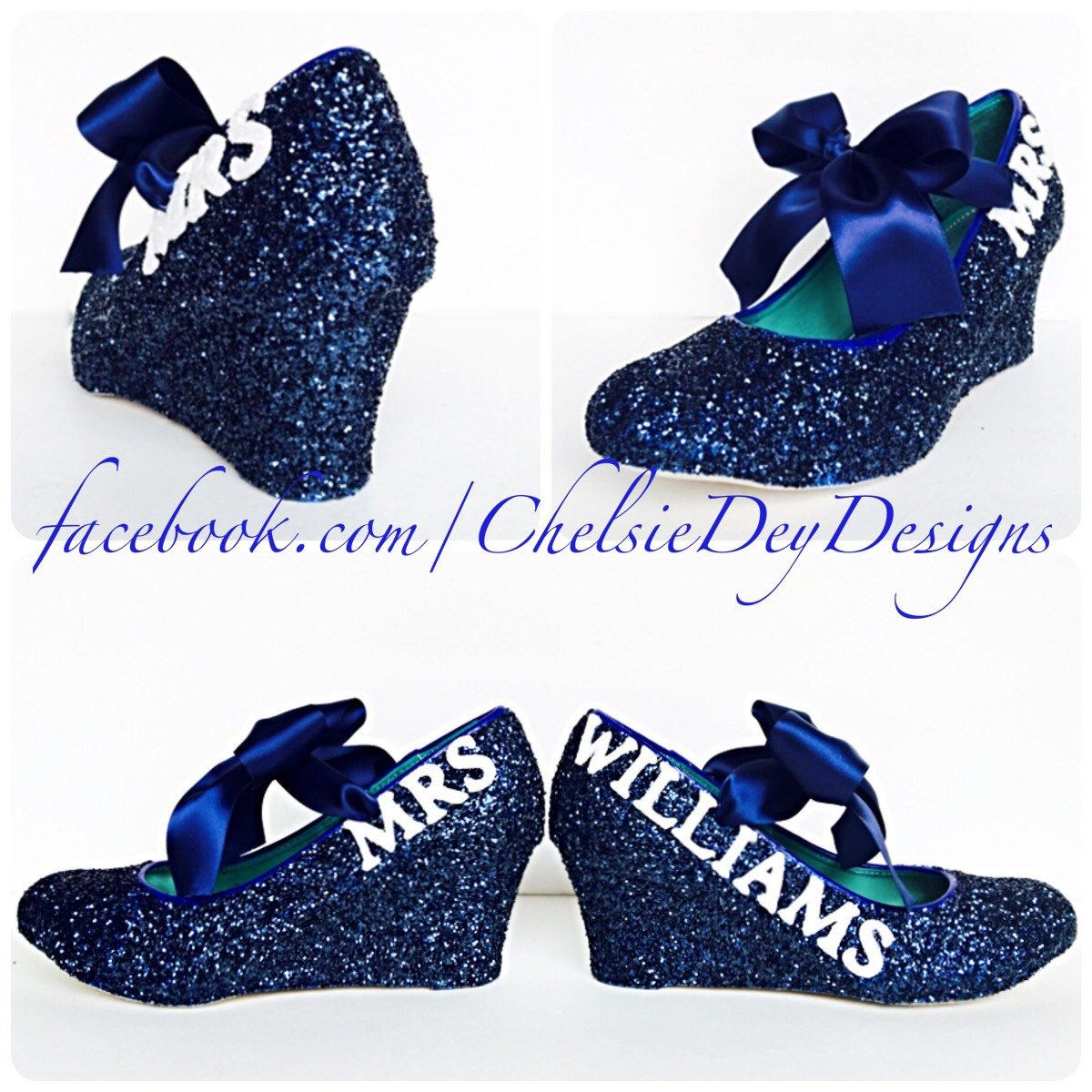 Glitter Wedges Navy Blue Heels Dark Wedding Shoes Last Name