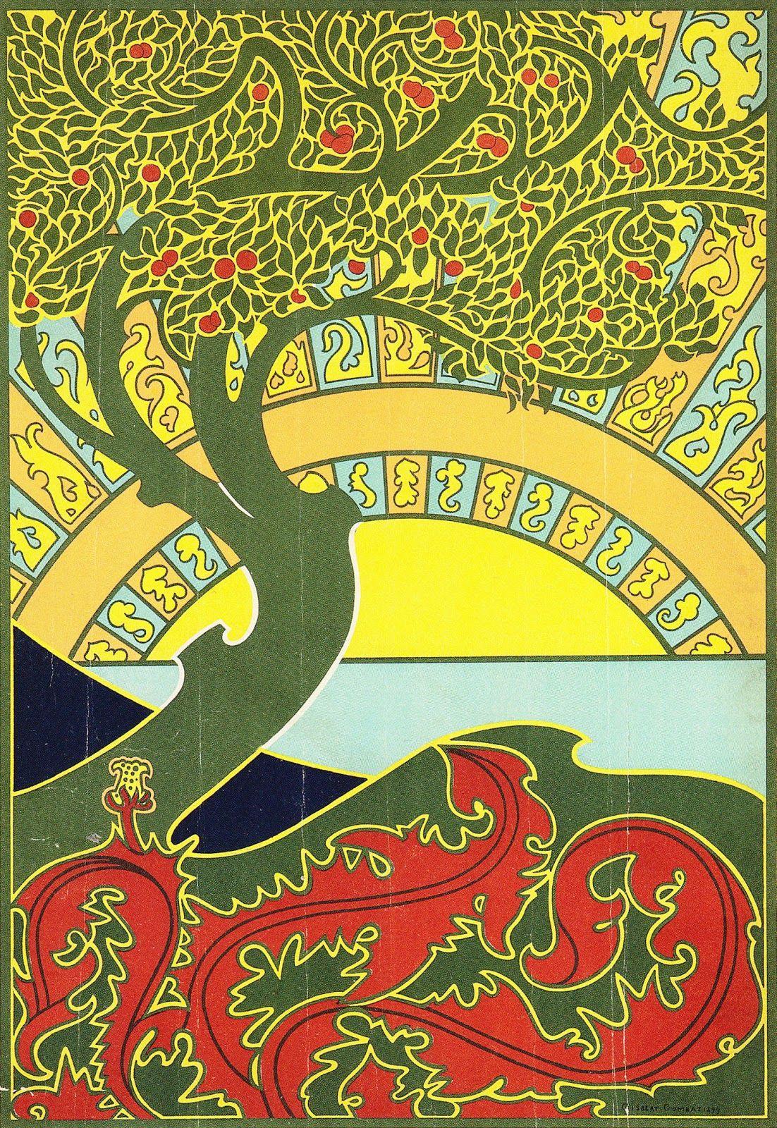 Poster design by Gisbert Combaz for an exhibition of ' La libre Esthetique Salon Annuel 1899′, a group of Belgian painters. Source