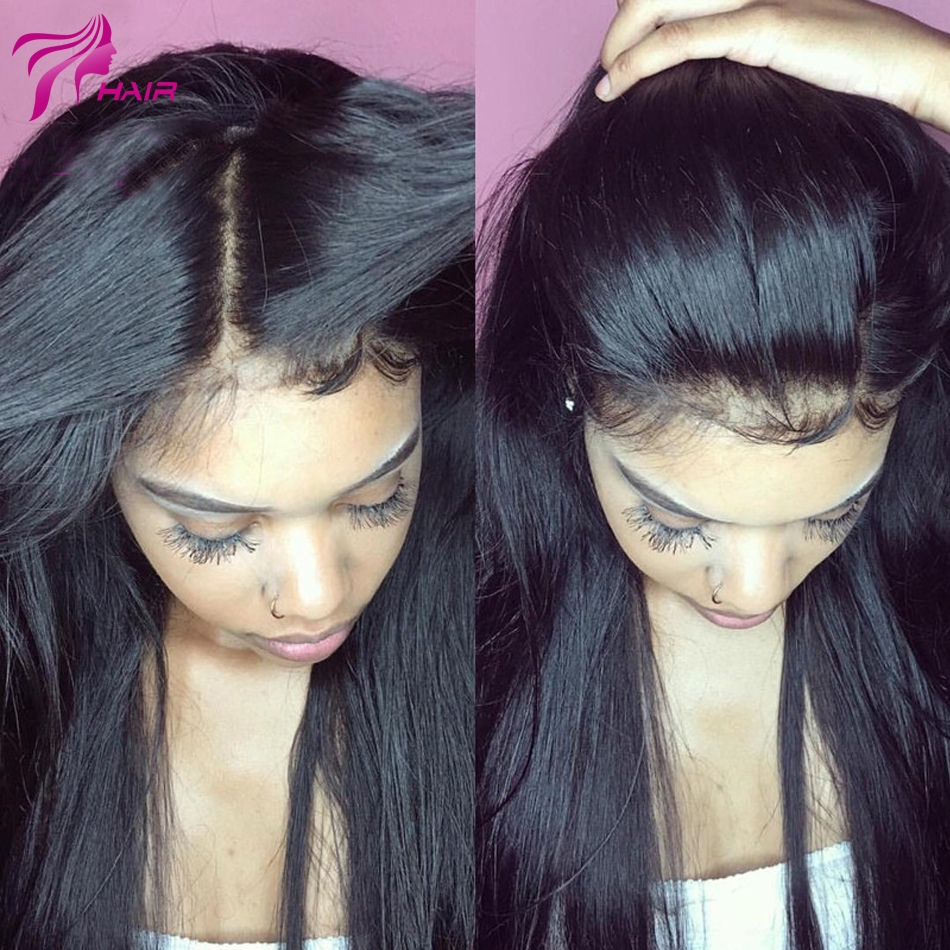 183.60$  Watch here - http://alito0.worldwells.pw/go.php?t=32752453379 - 8A Grade Straight Silk Top Human Hair Wigs Virgin Brazilian Hair Silk Base Full Lace Human Hair Wigs With Baby Hair Lace Wigs